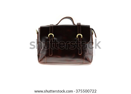 Small leather business bag isolated on white background (Front view)