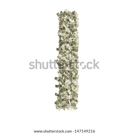 Small letter l made from Dollar bills - stock photo