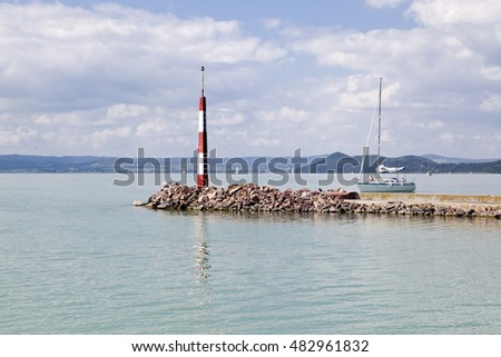 Small light signal on Lake Balaton, Balatonfoldvar, Hungary