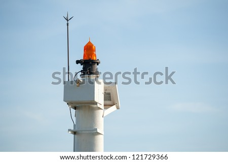 Small lighthouse at chalong dock , Phuket Thailand