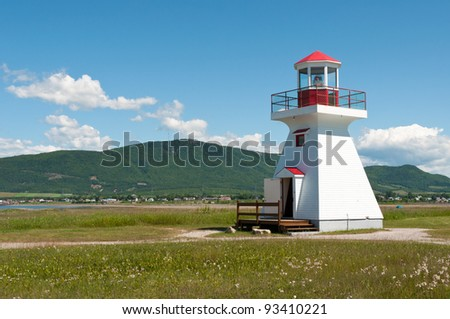 Small lighthouse from the city of Carleton-Sur-Mer - stock photo