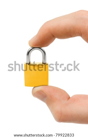 Small lock in hand isolated on white background - stock photo