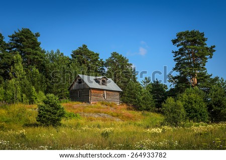 small log house on the hill near the forest - stock photo
