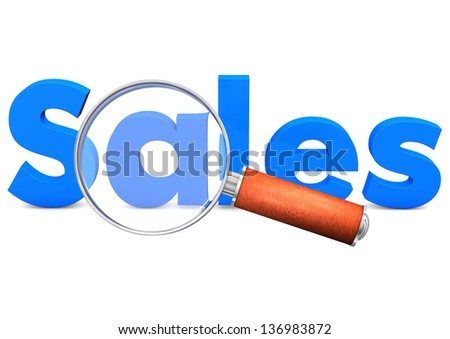 Small loupe with blue text Sales. White background. - stock photo