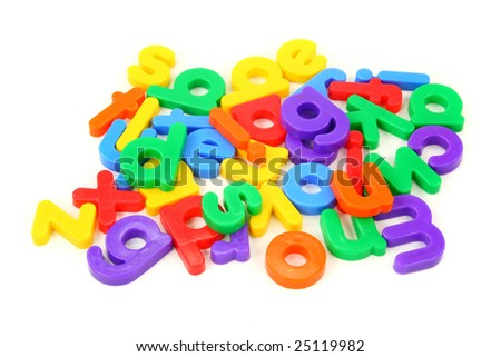 Small magnet letters isolated on white background