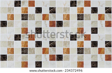 small marble square tiles with color effects - stock photo
