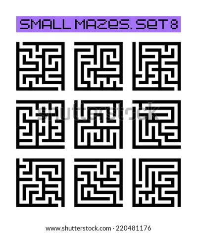 small mazes set 8 - stock photo