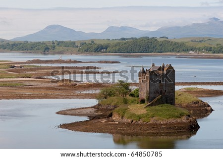 Small medieval castle on small island in loch linnhe argyll in the scottish highlands - stock photo
