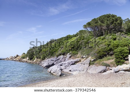 Small mediterranean beach on the island of Elba in Nisporto village, Tuscany, Italy