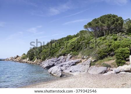 Small mediterranean beach on the island of Elba in Nisporto village, Tuscany, Italy - stock photo