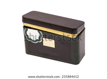Small Metal box isolated on a white background - stock photo
