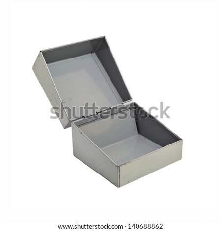 Small metal box (open) isolated on a white background. - stock photo