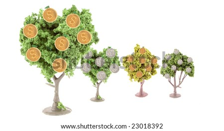 small miniature forest growing copper and silver dollars, yen, euros and British pound coins ... Dollar tree is in front showing strength in currency exchange - stock photo
