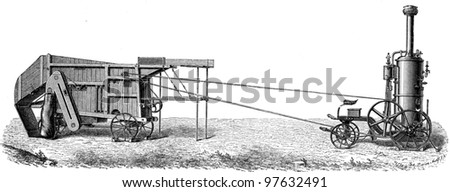 small mobile steam thresher draw by Simeon Nachf - an illustration of the encyclopedia publishers Education, St. Petersburg, Russian Empire, 1896 - stock photo