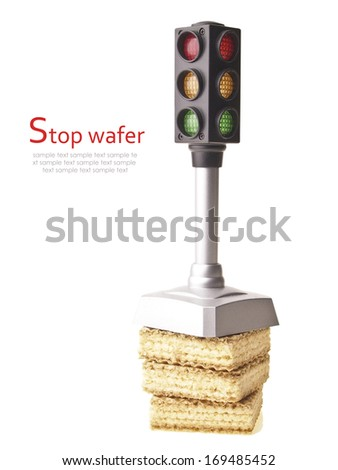 small model traffic light on wafer stack isolated on white background
