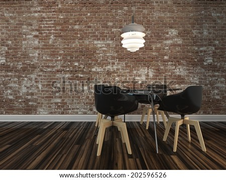 Small modern dining table and four chairs on a wooden parquet floor with rustic face brick wall in an architectural and interior decor background - stock photo