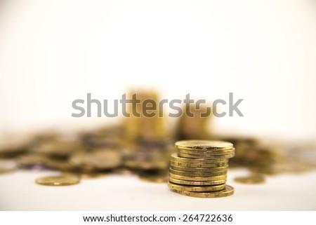 Small money.Ukrainian money. Hryvnia. Blur of a background author's idea. - stock photo