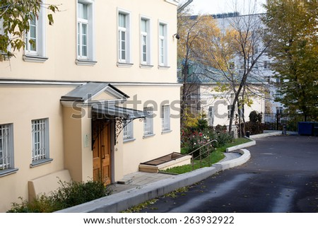 Small moscow yard with several buildings