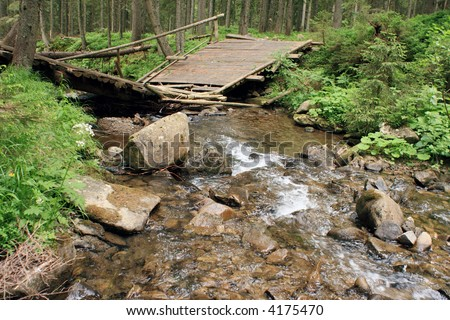 Small mountain water stream in forest and wood bridge, disturbed it before