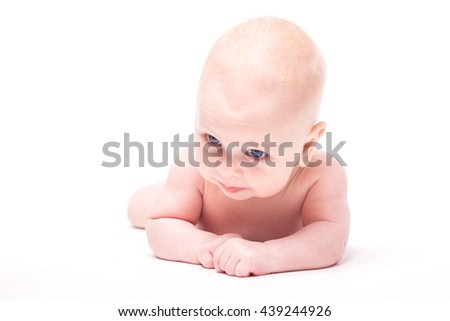 small naked child on a white background