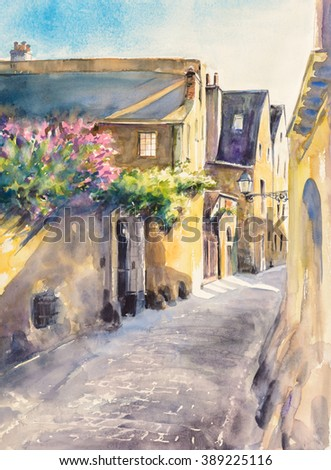Small, narrow street in old city of Le Mans,France. Picture created with watercolors. - stock photo