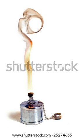 Small night light and smoke over a white background - stock photo