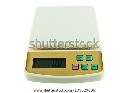 Small Object Weighing Digital Scales On Isolated White Background - stock photo