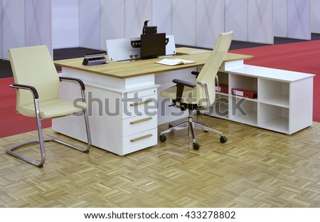 Small Office Desk Furniture Setup - stock photo