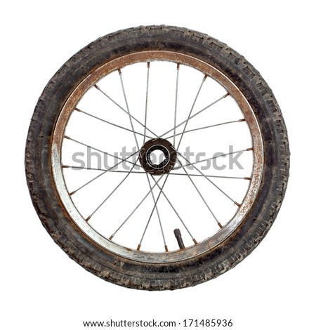 Small old rusty bicycle wheel isolated on white - stock photo