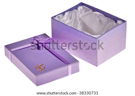 small open lilac box isolated on white background