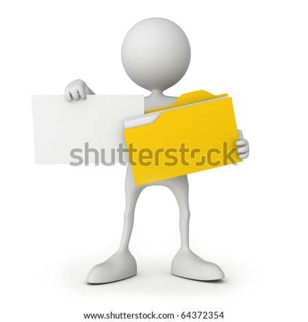 Small people with file. 3D high quality render. - stock photo