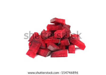 Small pieces of beetroot. Isolated on a white background. - stock photo