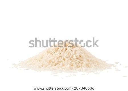 Small pile of basmati rice isolated on a white background - stock photo