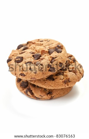 Small pile of chocolate cookies on white background - stock photo