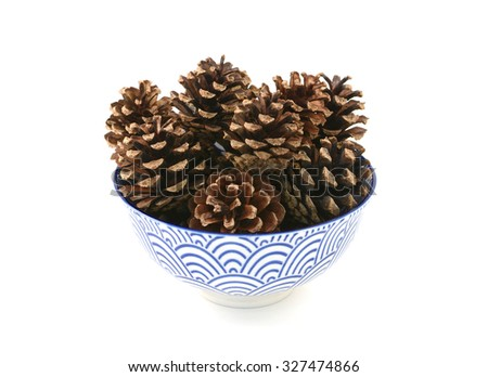 Small pine cones in a blue and white porcelain bowl with a floral design, isolated on a white background - stock photo