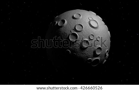 small planet in space 3d render - stock photo