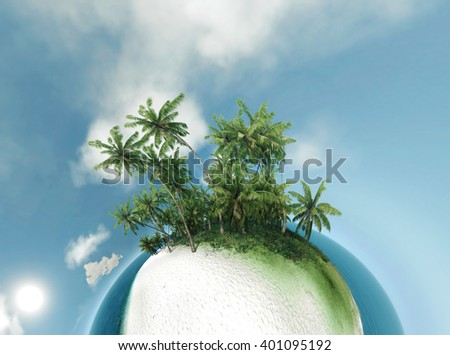 small planet, ocean, tropical island, palm trees 3D illustration - stock photo