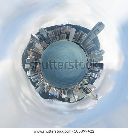 Small planet of Hong Kong - stock photo