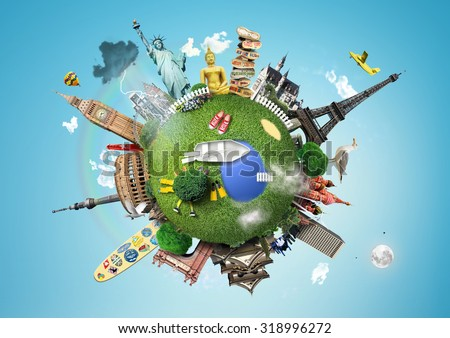 Small planet with landmarks around the world - stock photo