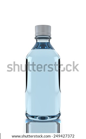 Small plastic water bottle isolated over white background