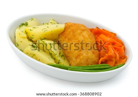 Small plate of inflight meal, cutlet, potatoes and vegetables on a white background - stock photo