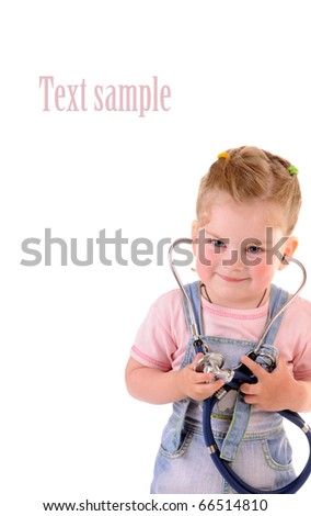 Small playful girl with stethoscope on white background with place for your text - stock photo