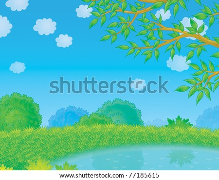 small pond in countryside - stock photo