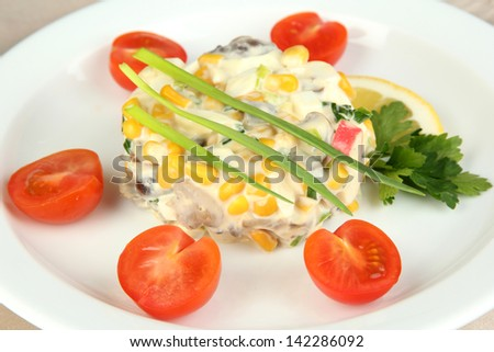 Small portion of food on big plate close up - stock photo