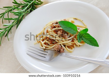 small portion of spaghetti mixed with minced meat served on white plate - stock photo