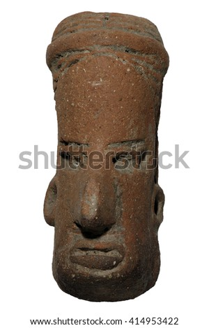 Small Pre-columbian Zapotec hand carved head or idol from the vicinity of Oaxaca Mexico