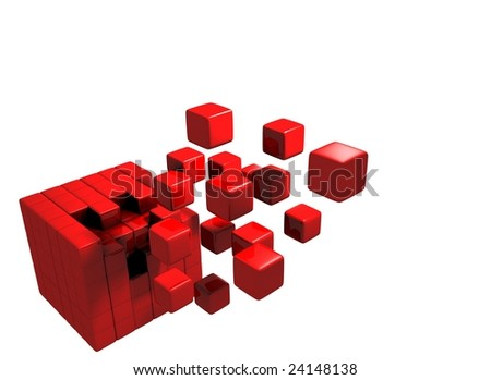 Small red cubes coming together to build a bigger whole. Concept for team spirit and achievement