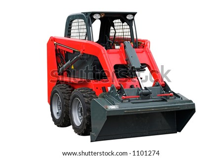 Small Red Excavator isolated on white background