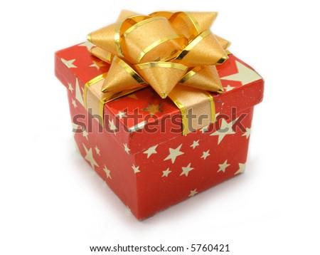 Small red gift box for a ring isolated on white, decorated with stars and golden flower - stock photo