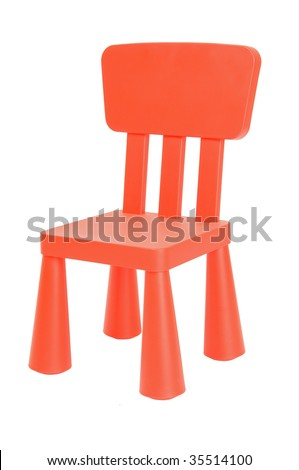 Small red plastic children's chair - stock photo